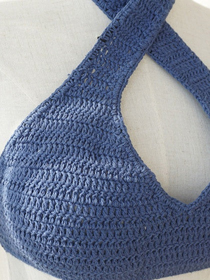Blue Halter Cut Out Crochet Bikini Top and Lace Up Side Bottom