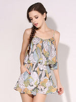 Polychrome Tropical Floral Ruffle Cami Romper Playsuit