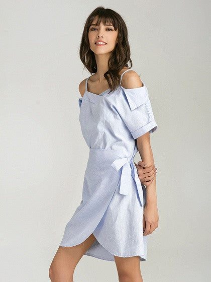 Blue Folded Cold Shoulder Tie Waist Wrap Cami Dress
