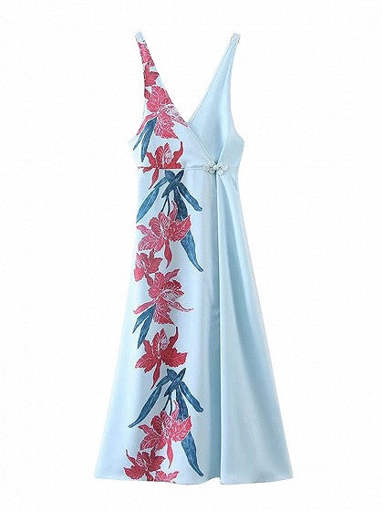 Blue V-neck Floral Print Open Back Split Maxi Vest Dress