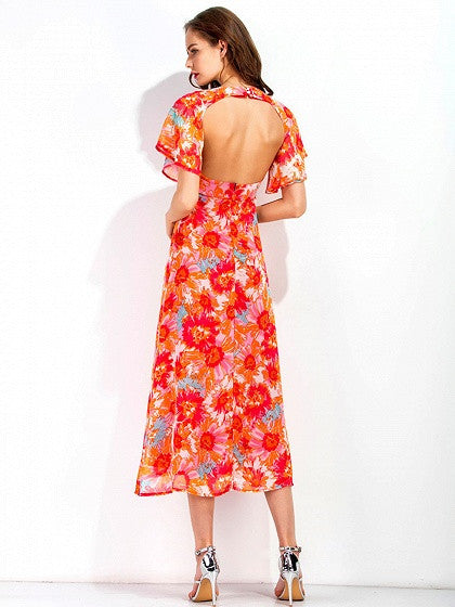 Polychrome V Neck Floral Print Flare Sleeve Midi Dress