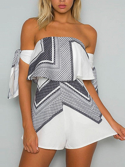 4c718381fedc White Off Shoulder Geo Pattern Layered Bow Sleeve Romper Playsuit