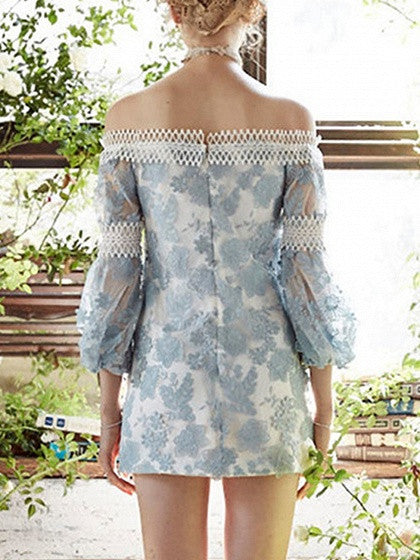 Blue Off Shoulder Embroidery Puff Sleeve Mini Dress