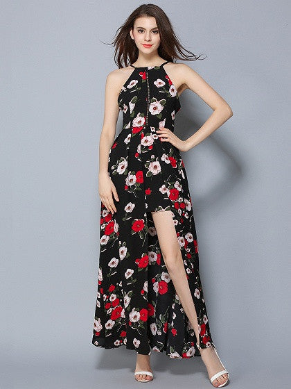 Black Floral Split Front Open Front Maxi Dress