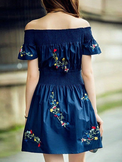 Navy Blue Off Shoulder Embroidery Skater Dress