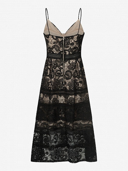 Black Cupped Paisley Lace Cami Midi Skater Dress