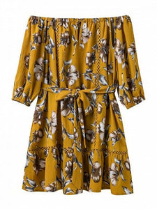 Yellow Off Shoulder Floral Print Tie Waist Tunic Dress