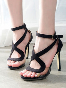 86ac47669fe3e Black Faux Suede Ankle-strap Heeled Sandals – MYNYstyle