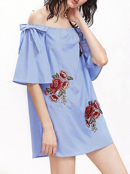 Blue Stripe Off Shoulder Embroidery Flower Bow Detail Mini Dress