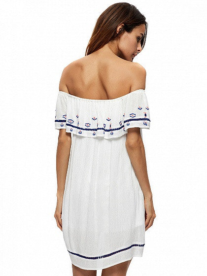 White Off Shoulder Embroidery Detail Ruffle Shift Mini Dress