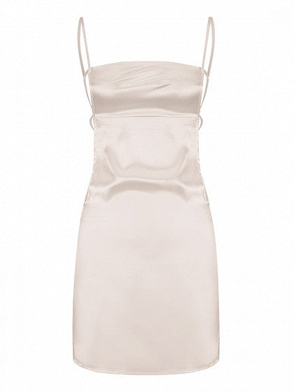 Beige Silky Strappy Open Back Cami Bodycon Dress