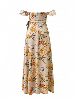 Polychrome Floral Off Shoulder Ruffle Trim Cut Out Back Maxi Dress