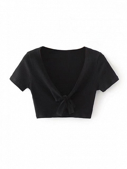 a98ca80d517 Black Plunge V-neck Knot Front Short Sleeve Cropped Ribbed T-shirt ...