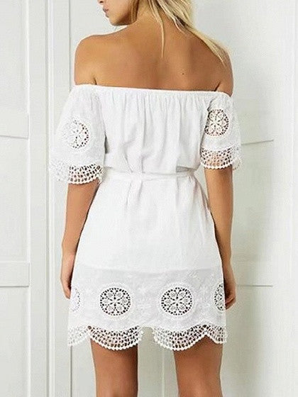 White Off Shoulder Ruffle Tie Waist Scalloped Hem Mini Dress