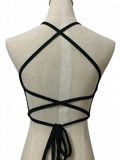Black Halter Cross Strappy Back Crop Cami Top