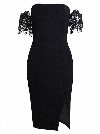 Black Off Shoulder Lace Sleeve Split Bodycon Dress