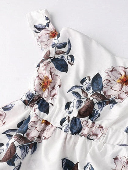 White Off Shoulder Floral Print Wrap Midi Dress