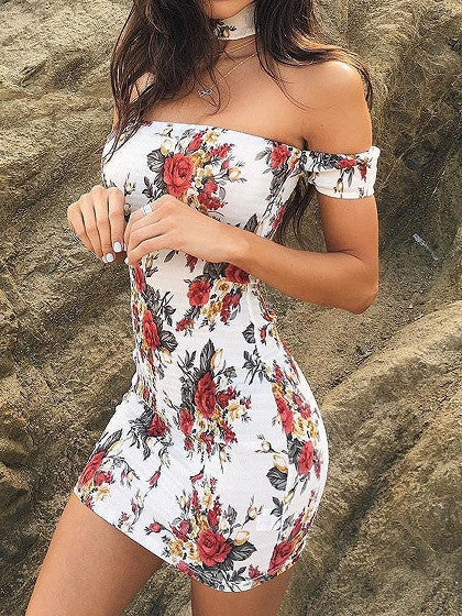 White Choker Off Shoulder Floral Print Bodycon Dress