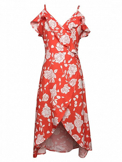 Red Floral Ruffle Print Wrap Cami Midi Dress