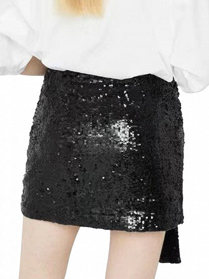 Black Sequin Bow Tie Front Mini Skirt