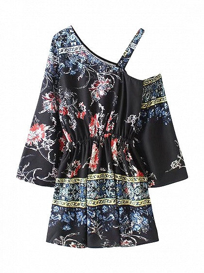 Black One Shoulder Floral Print Tie Waist Dress