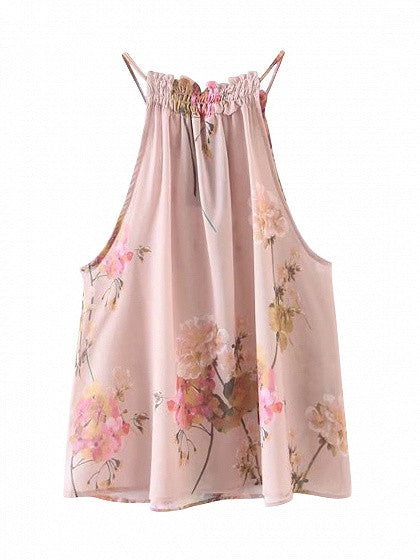 Pink Halter Floral Print Cut Away Chiffon Top