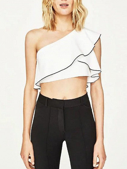 White One Shoulder Ruffle Crop Top