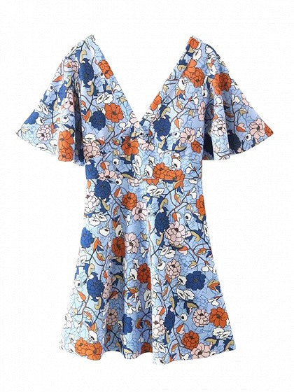 Blue V Front and V Back Floral Print A-line Dress