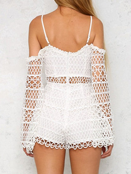 White Cutwork Lace Plunge Cold Shoulder Cami Romper Playsuit