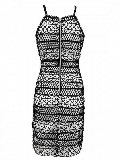Black Plunge Cutwork Lace Spaghetti Strap Bodycon Dress