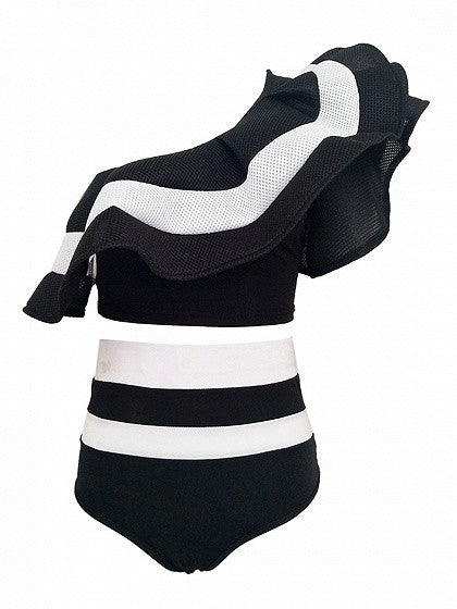 Black Striped One Shoulder Ruffle Crop Top and Brief Bottom