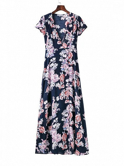 Navy Blue Wrap Floral Print Tie Waist Split Maxi Dress