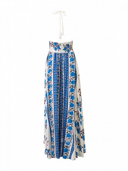 White Halter Plunge Floral Print Tassel Split Maxi Dress