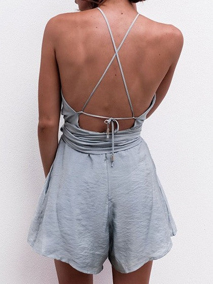 Gray Halter Cross Back Tie Waist Romper Playsuit