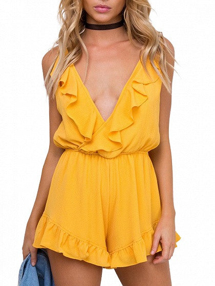 Yellow Wrap Plunge Ruffle Spaghetti Strap Trim Romper Playsuit