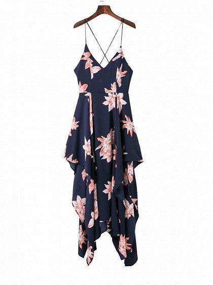 Navy Blue Floral Print Cross Back Asymmetric Hem Cami Maxi Dress