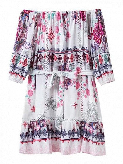 Polychrome Off Shoulder Tribal Print Tie Waist Dress