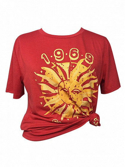 Red Sun-god Print Short Sleeve T-shirt