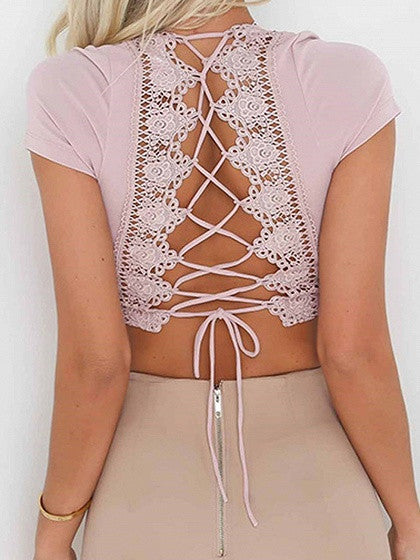 Pink Plunge Lace Panel Lace-up Back Crop Top