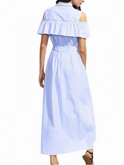 Blue Striped Cold Shoulder Ruffle Bow Waist Maxi Shirt Dress