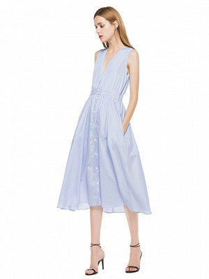 Blue Striped Plunge Button Placket Sleeveless Midi Dress