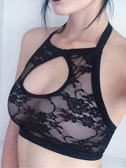 Black Halter Cut Out Lace Crop Bralette Top