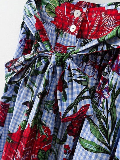 Polychrome Plaid Floral Button Up Tie Waist Midi Prom Skirt