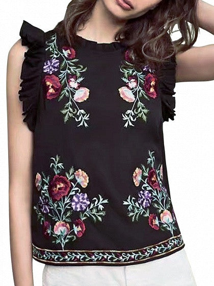 Black Embroidery Floral Ruffle Detail Keyhole Back Blouse