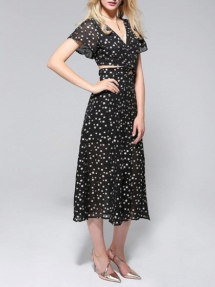 Black V-neck Star Print Cut Out Detail Split Chiffon Dress