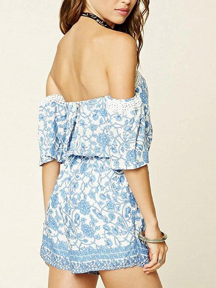 Blue Off Shoulder Tile Print Drawstring Waist Romper Playsuit