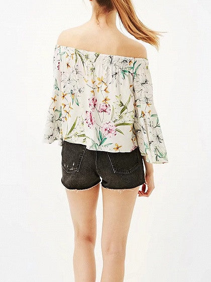 Polychrome Floral Off Shoulder Flared Sleeve Blouse