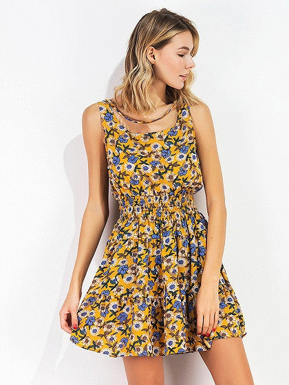 Polychrome Floral Stretch Waist Sleeveless Mini Dress