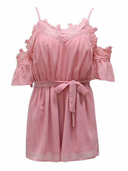 Pink Cold Shoulder Lace Trim Cami Romper Playsuit