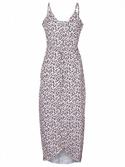 Light Pink Floral Print Tie Waist Wrap Spaghetti Strap Maxi Dress